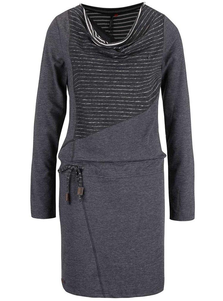 Sivé melírované šaty s dlhým rukávom Ragwear Chance