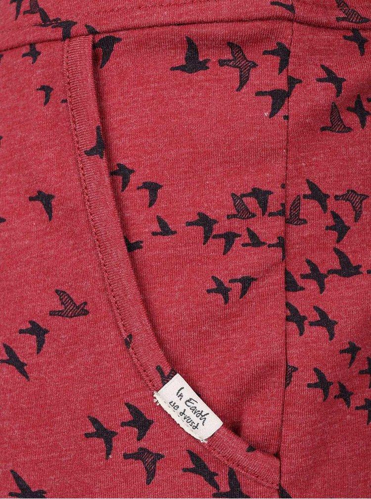 Červené vzorované šaty s dlhým rukávom Ragwear Cami Organic