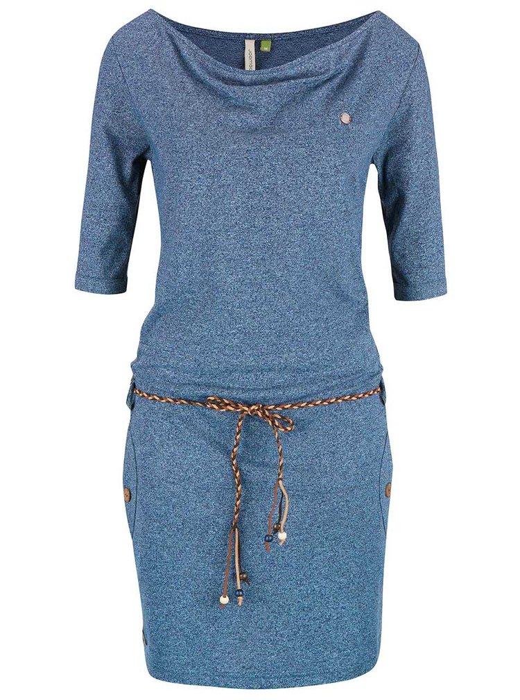 Modré melírované šaty s opaskom Ragwear Tanya Organic