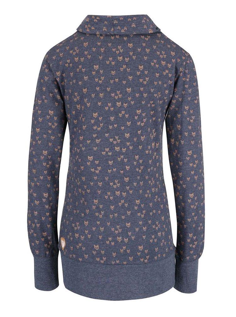 Bluza albastra Ragwear Next Fox Organic cu imprimeu