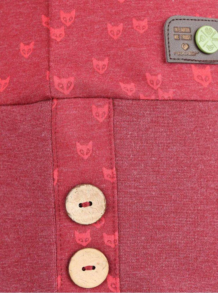 Bluza rosie Ragwear Next Fox Organic cu imprimeu