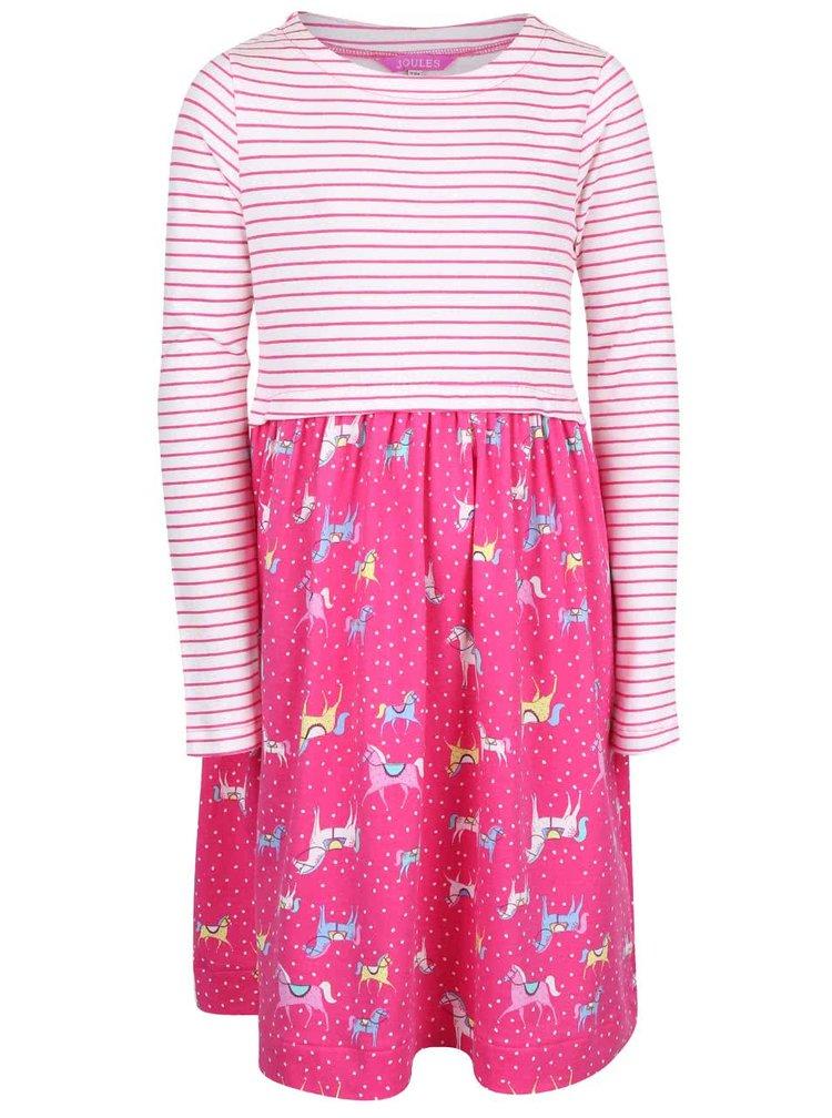 Bílo-růžové holčičí šaty s motivem poníků Tom Joule Layla