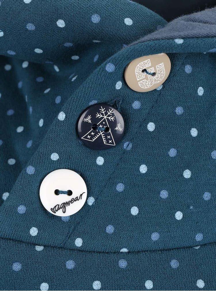 Petrolejová dámská mikina s vysokým límcem Ragwear Chelsea Dots