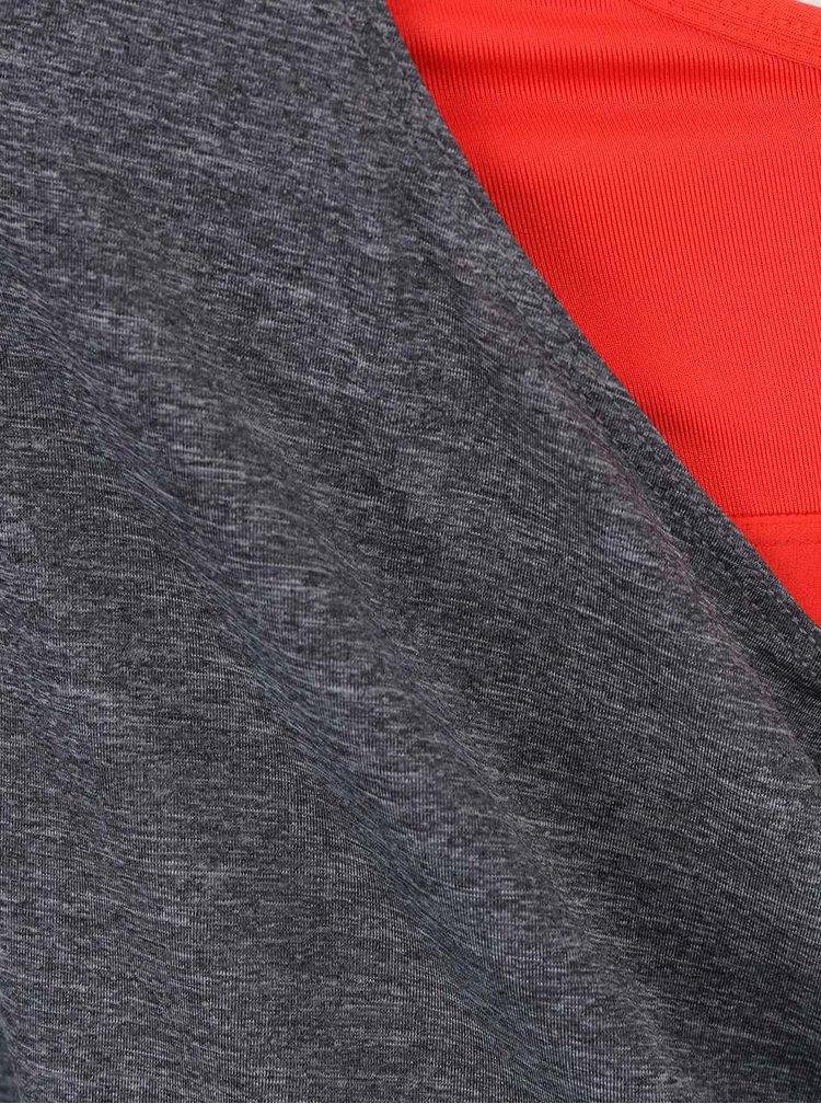 Šedé žíhané dámské tílko s červenou podprsenkou 2 v 1 Nike Training