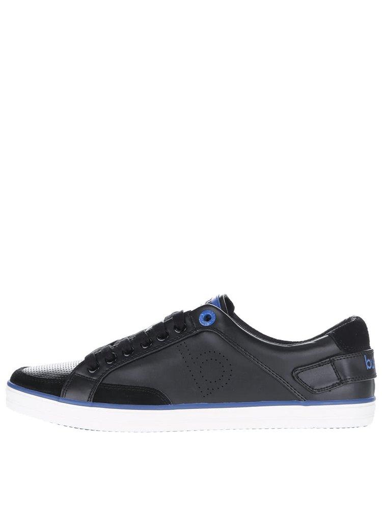 Čierne pánske tenisky s modrými detailmi bugatti