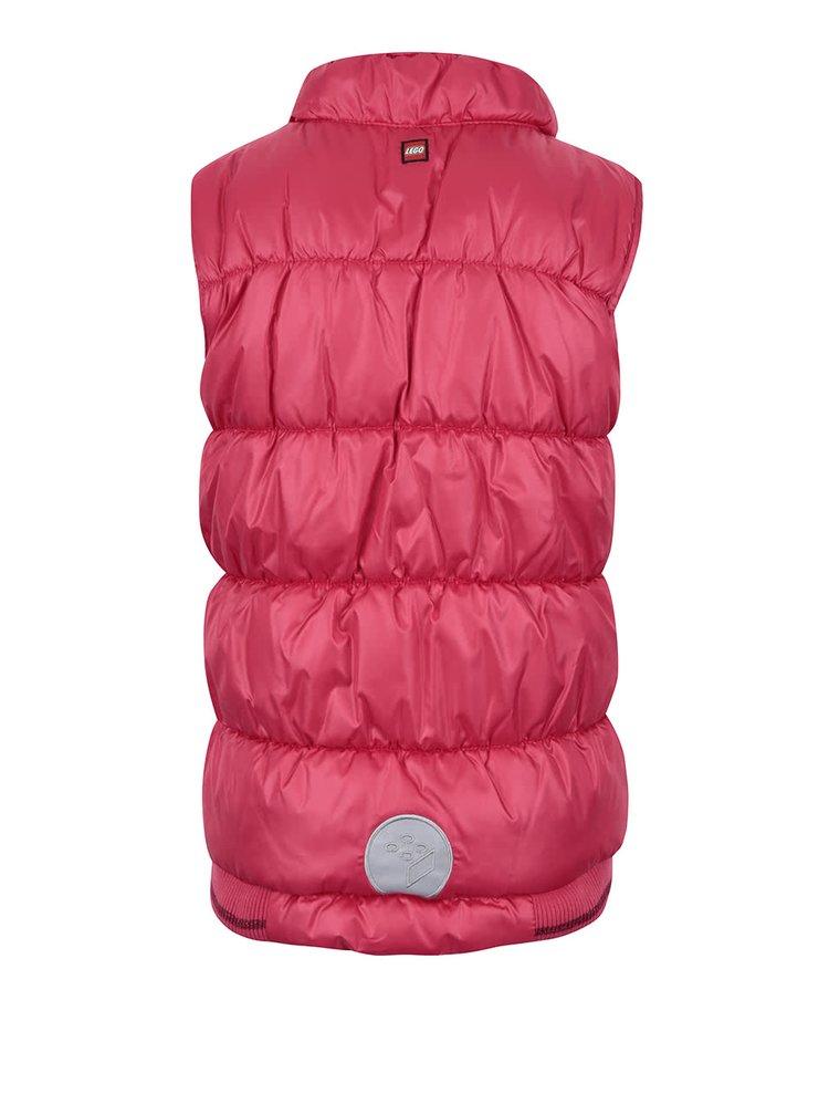 Ružová lesklá dievčenská prešívaná vesta LEGO Wear Jenay