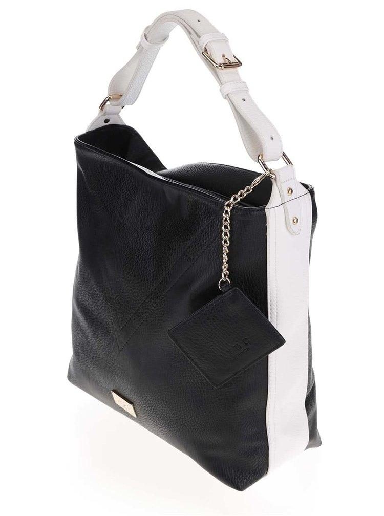 Čierna kabelka s bielymi pruhmi na bokoch LYDC