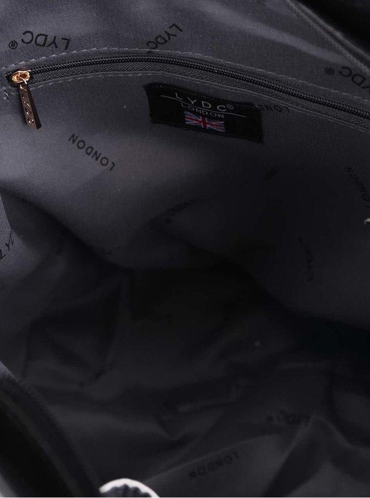 Černá kabelka s bílými pruhy po stranách LYDC