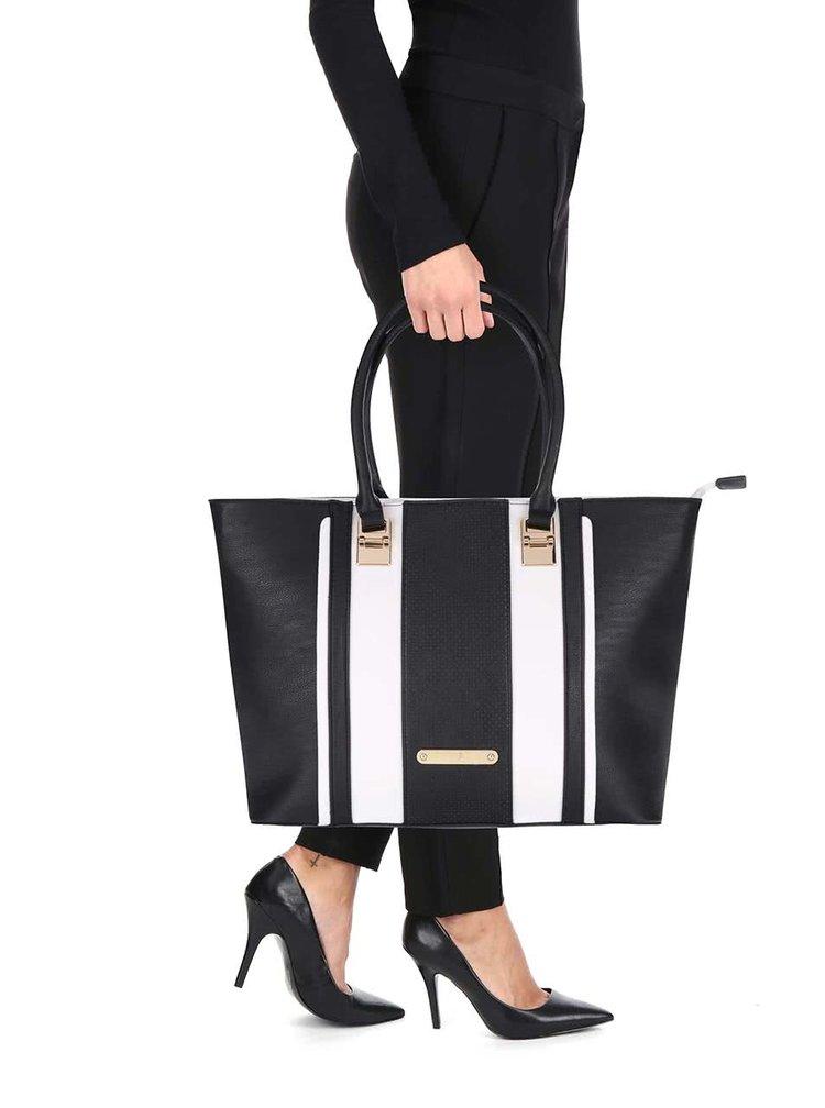 Bielo-čierny pruhovaný shopper Anna Smith