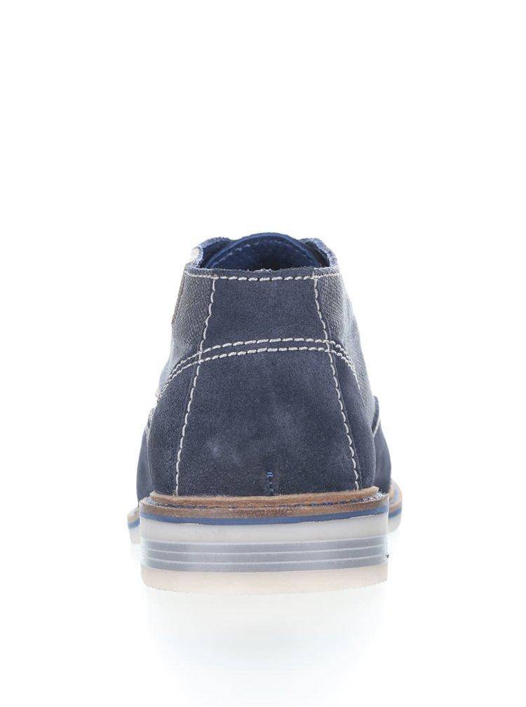 Tmavě modré pánské semišové polobotky s potiskem bugatti