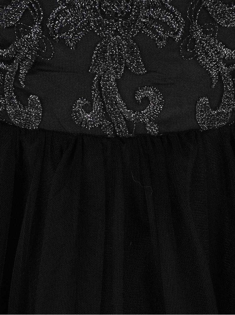 Čierne čipkované trblietavé šaty Chi Chi London April