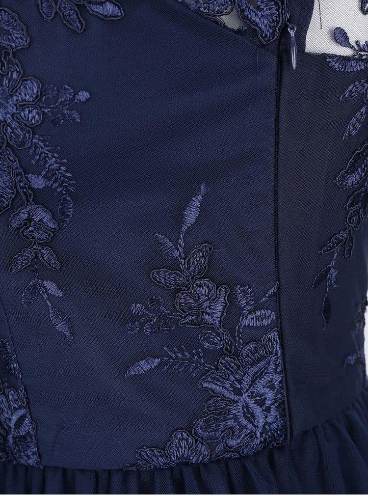 Tmavě modré šaty s 3/4 krajkovými rukávy Chi Chi London Brandi