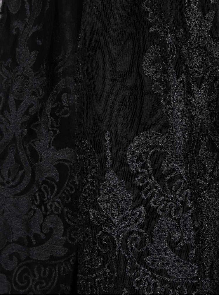 Černé krajkované šaty s 3/4 rukávy Chi Chi London Divya