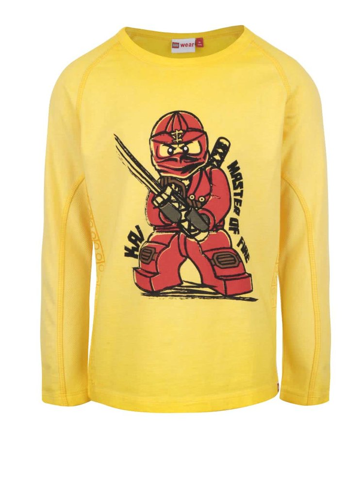 Žluté klučičí triko s potiskem a dlouhým rukávem LEGO Wear Tony