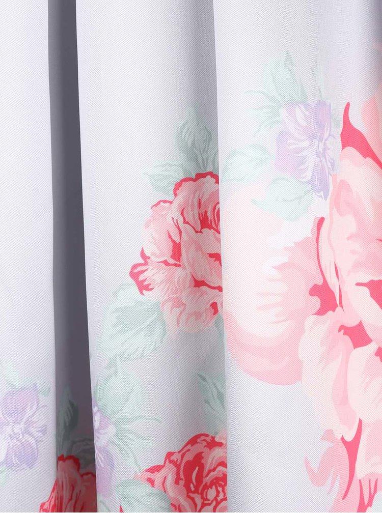 Svetlosivé kvetinové šaty so spadnutými ramenami Chi Chi London Camilla
