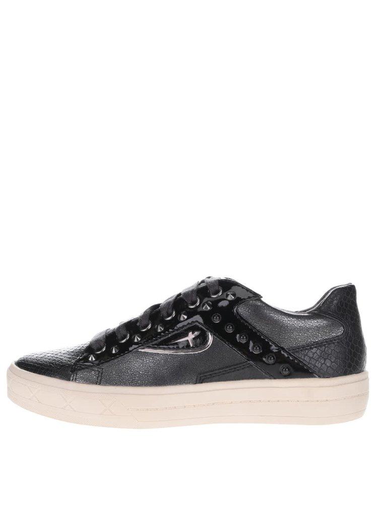 Béžovo-černé teniskys s detaily ve stříbrné barvě TamarisTamaris