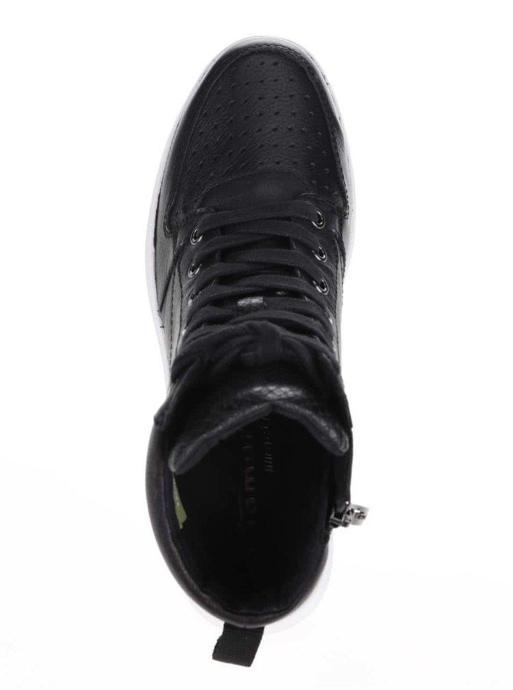 Čierne kožené členkové tenisky so zipsom Tamaris