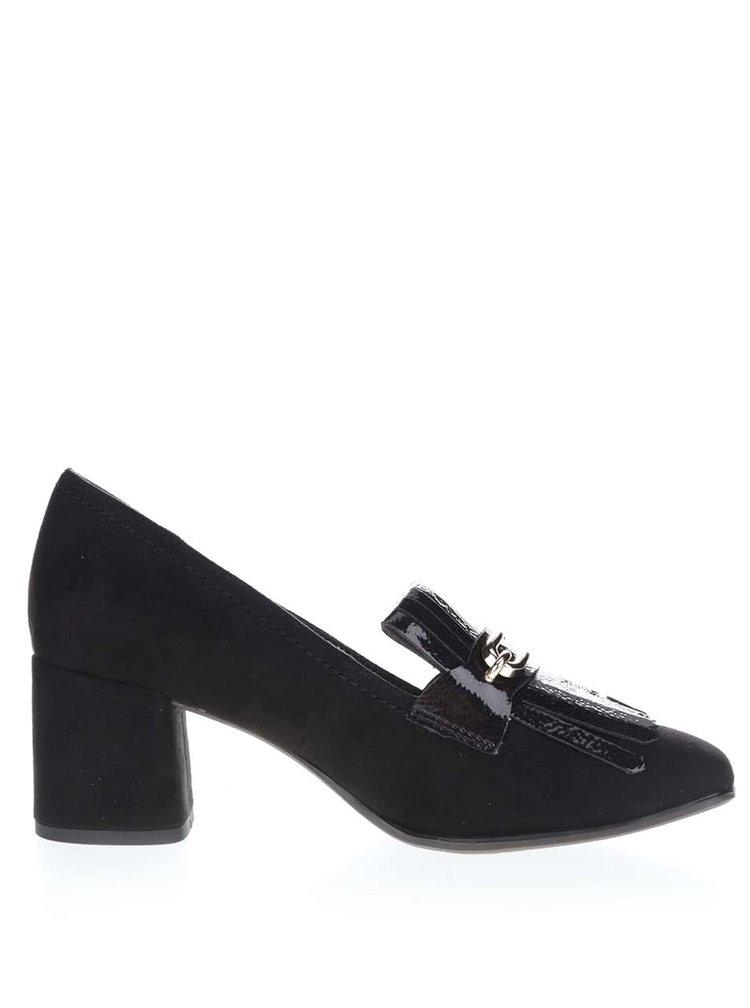 Pantofi cu toc Tamaris negri cu detalii