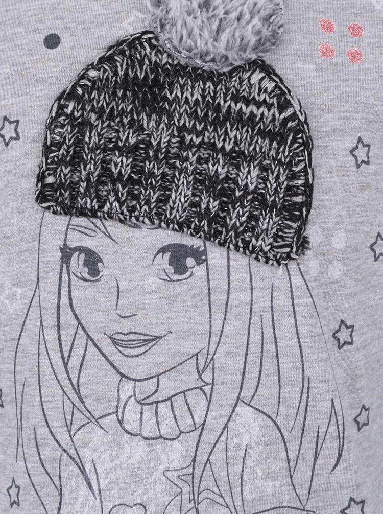Sivé dievčenské melírované tričko s motívom a dlhým rukávom LEGO Wear Tessa