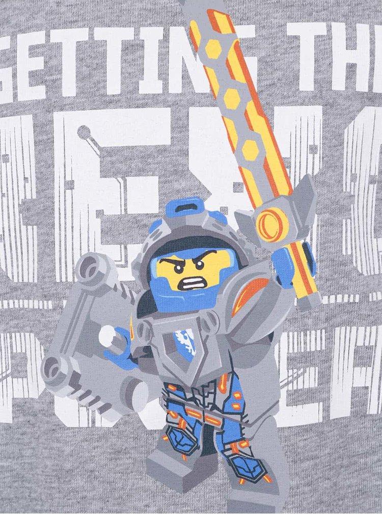 Šedé žíhané klučičí triko s potiskem a dlouhým rukávem LEGO Wear Tony