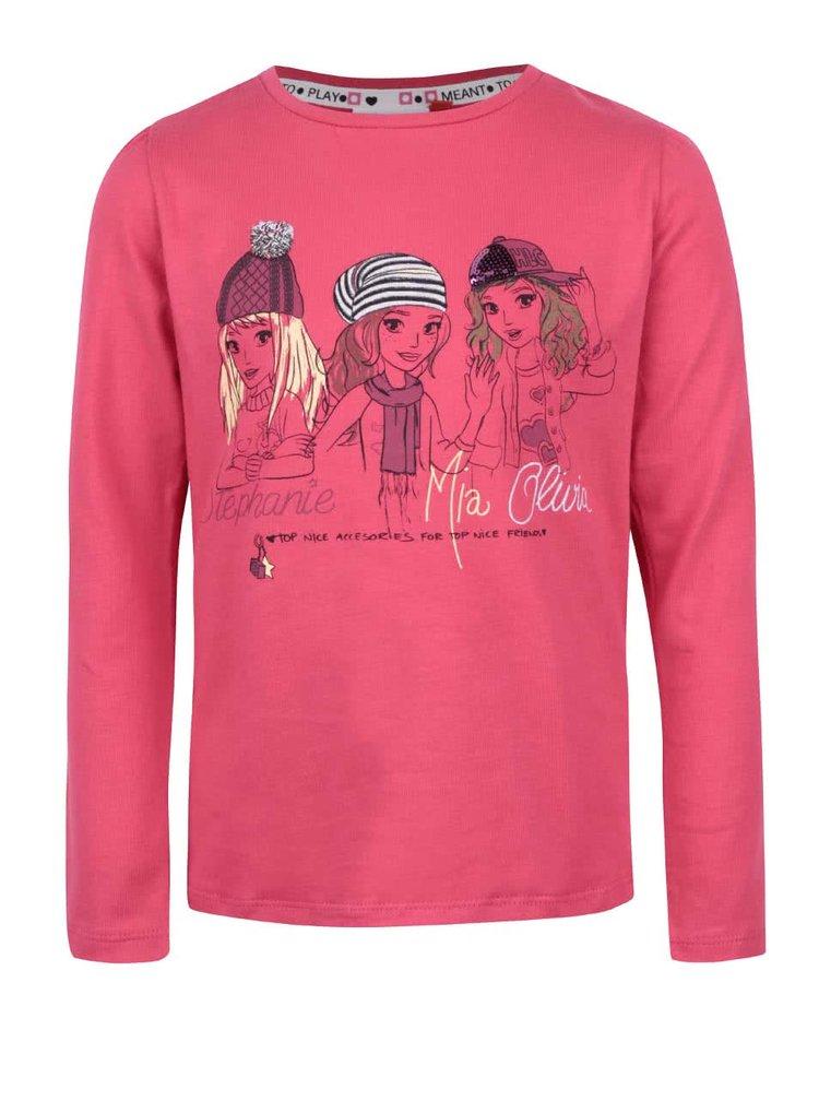 Ružové dievčenské tričko s potlačou a dlhým rukávom LEGO Wear Tamara