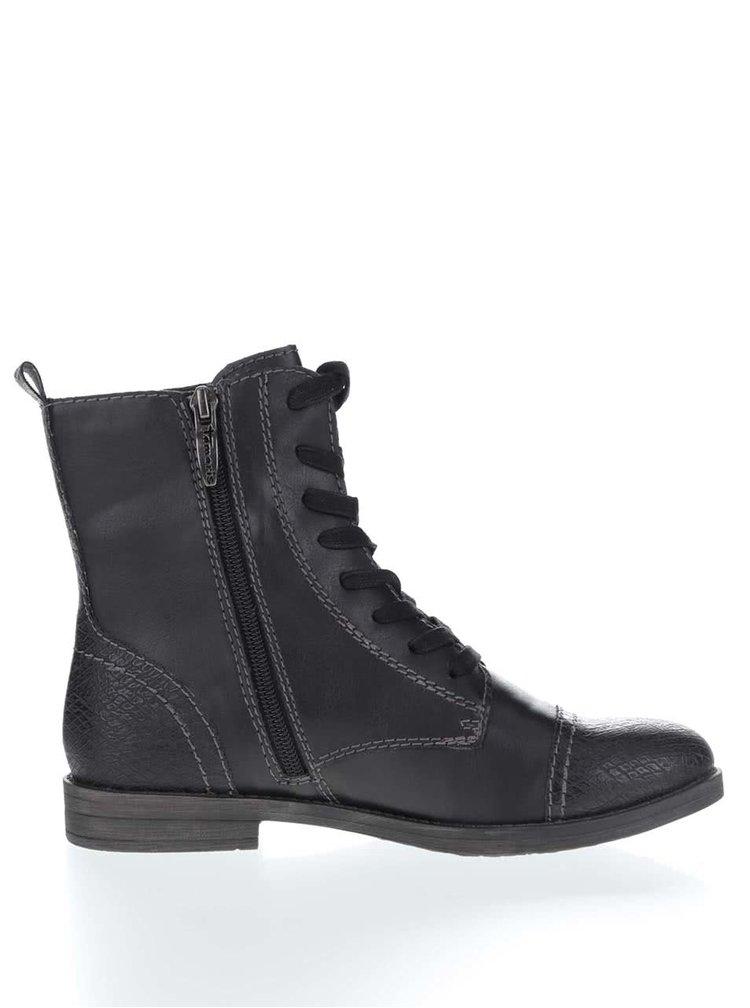 Černé kotníkové šněrovací boty Tamaris