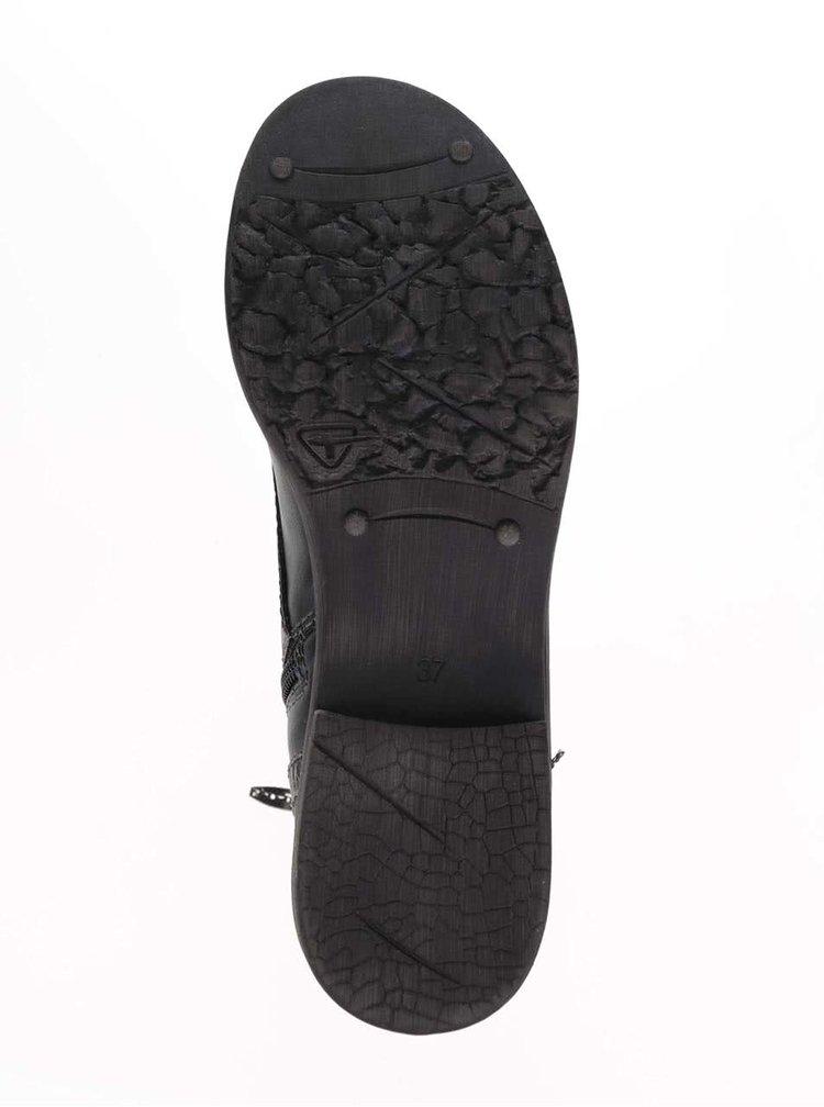 Čierne členkové šnurovacie topánky Tamaris