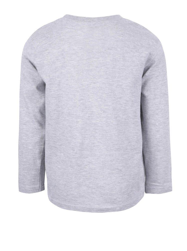 Sivé chlapčenské tričko s potlačou a dlhým rukávom LEGO Wear M-Line