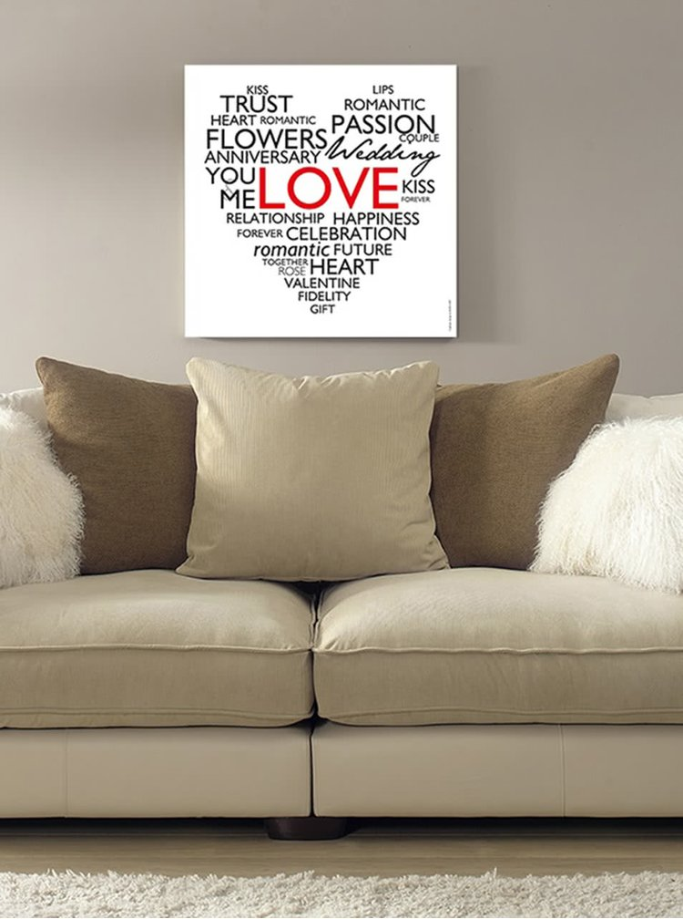 Bílý plakát v anglickém jazyce HEZKÝ SVĚT Srdce