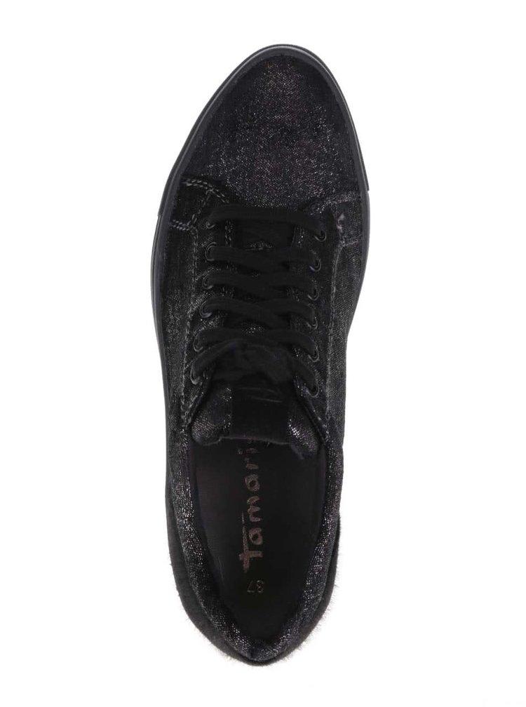 Černé třpytivé tenisky s nízkým vlasem Tamaris