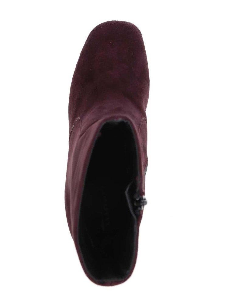 Vínové semišové členkové topánky Tamaris