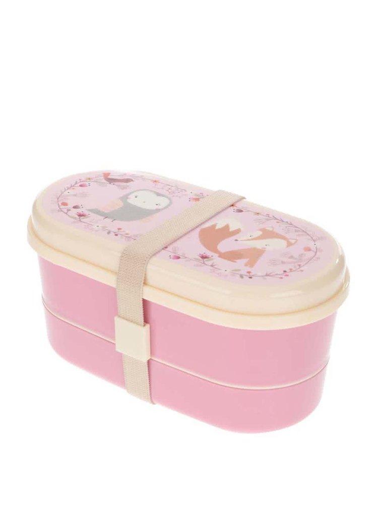 Ružový desiatový box so zvieratkami Sass & Belle