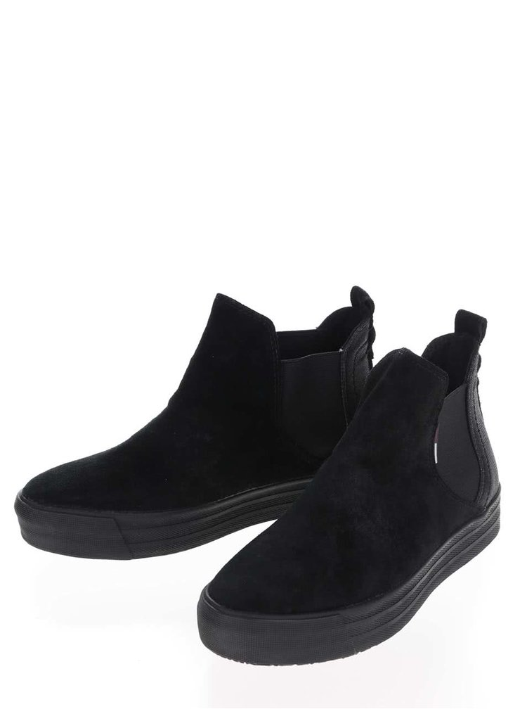 Černé dámské semišové chelsea boty na platformě Tommy Hilfiger