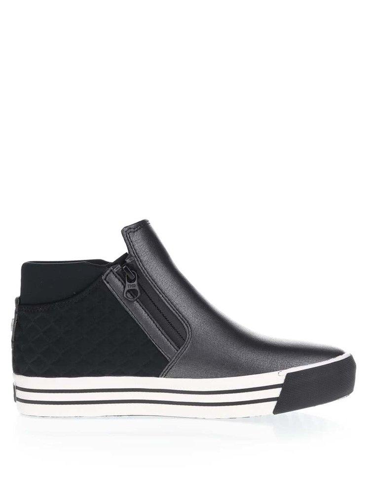 Modro-čierne dámske topánky s prešívanou pätou Tommy Hilfiger