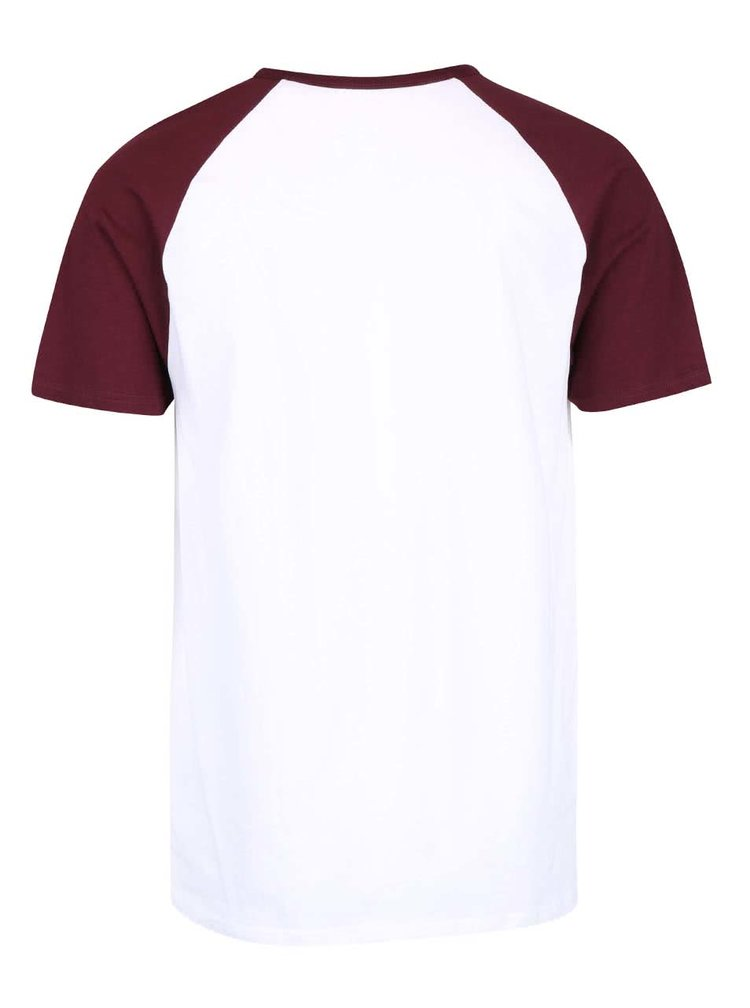 Tricou alb cu mâneci vișinii Burton Menswear London din bumbac