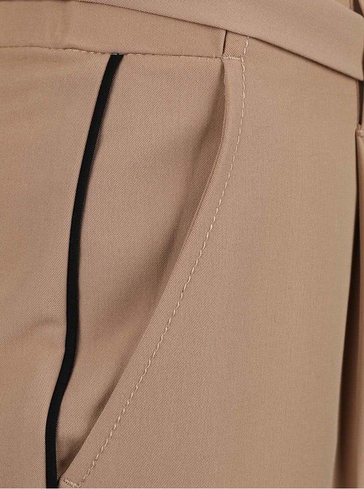 Béžové osminkové kalhoty s páskem Dorothy Perkins