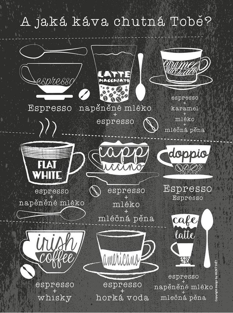 Černý plakát HEZKÝ SVĚT Káva