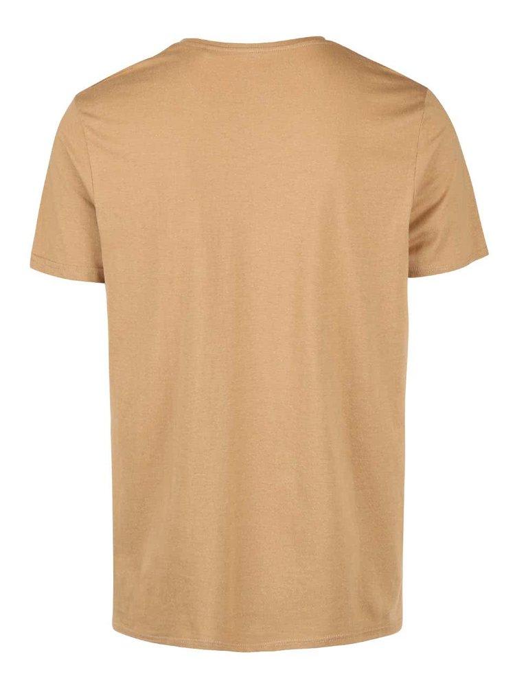 Svetlohnedé tričko s véčkovým výstrihom Burton Menswear London