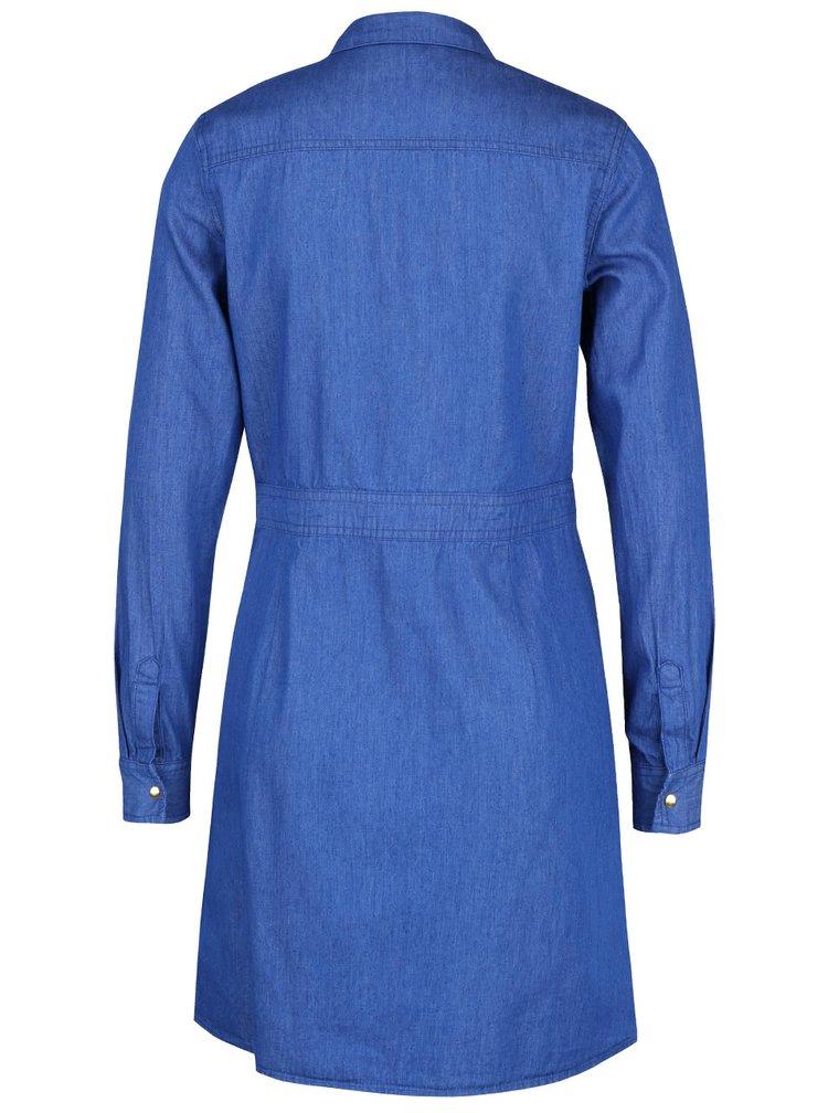 Modré džínové šaty na patentky Dorothy Perkins