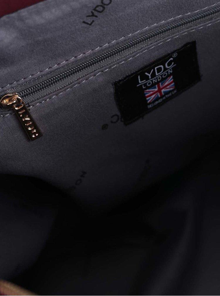Vínová větší kabelka s detaily ve zlaté barvě LYDC