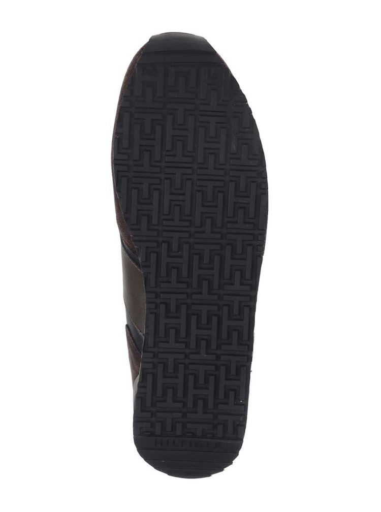Hnedo-modré kožené pánske tenisky so semišovými detailmi Tommy Hilfiger