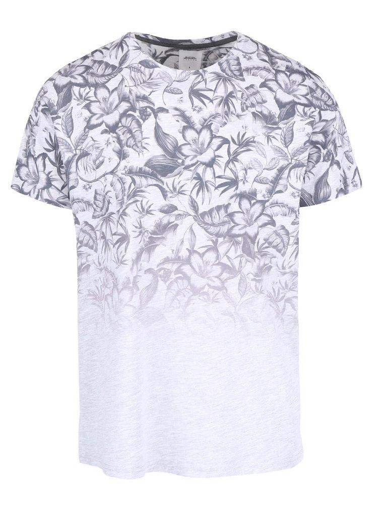 Šedé triko s květovaným vzorem Burton Menswear London