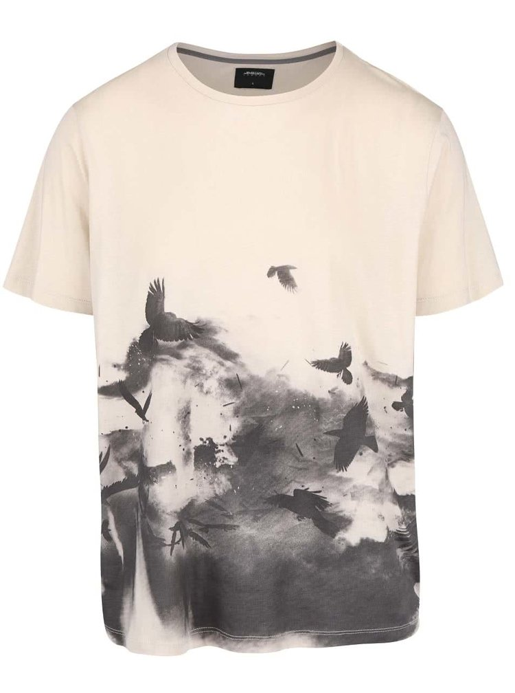 Béžové triko s motivem ptáků Burton Menswear London