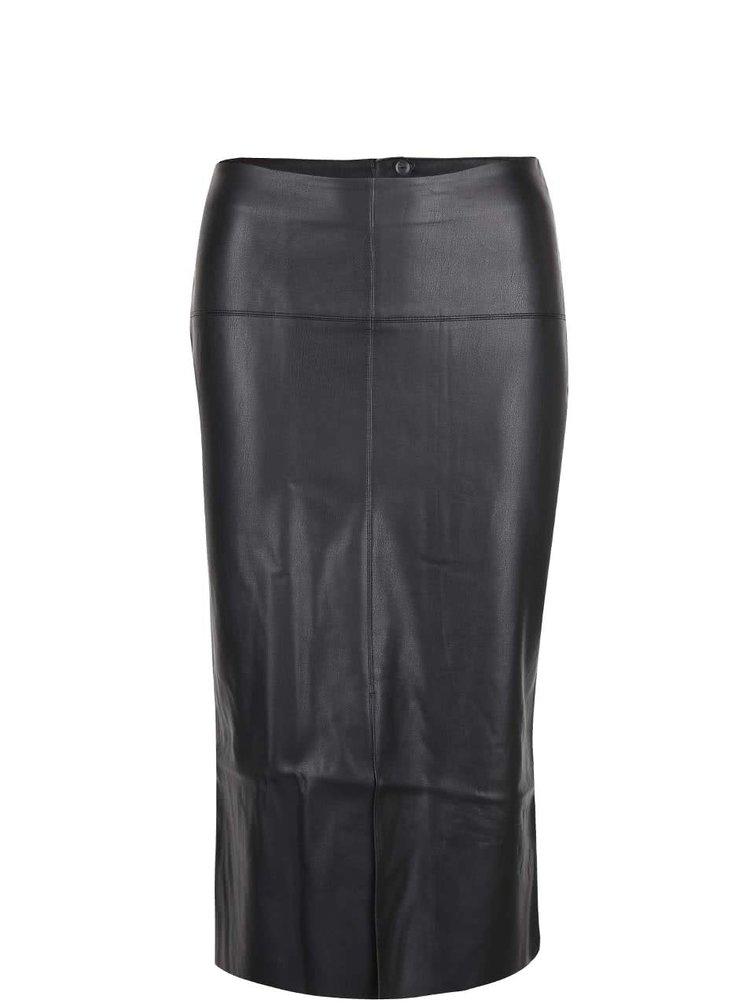Čierna koženková midi sukňa s rozparkom Dorothy Perkins