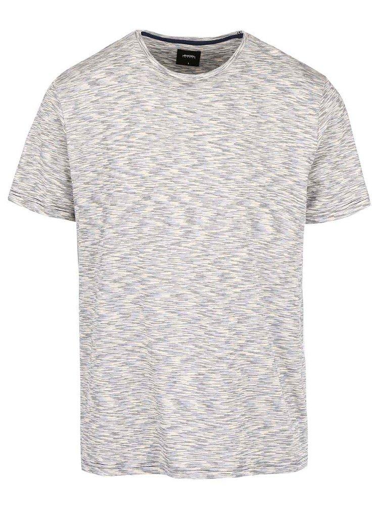 Modro-krémové melírované tričko Burton Menswear London