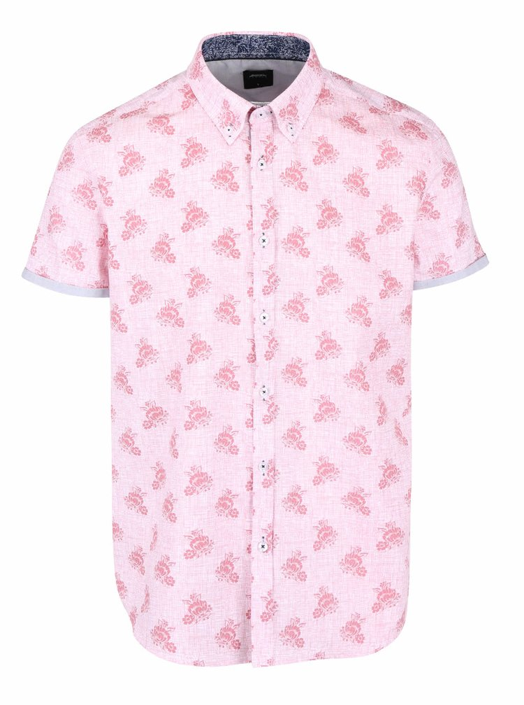 Camasa roz din bumbac Burton Menswear London cu model inflorat
