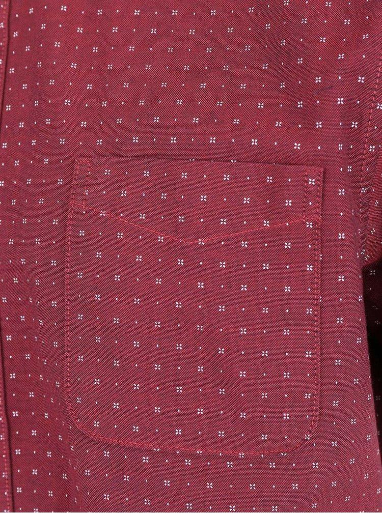 Cămașă vișinie Burton Menswear London din bumbac cu mâneci scurte
