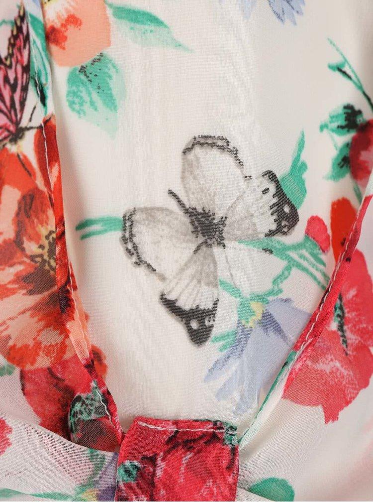 Krémová kvetovaná blúzka s 3/4 rukávmi Dorothy Perkins