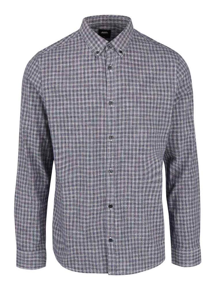 Krémovo-modrá vzorovaná košile Burton Menswear London