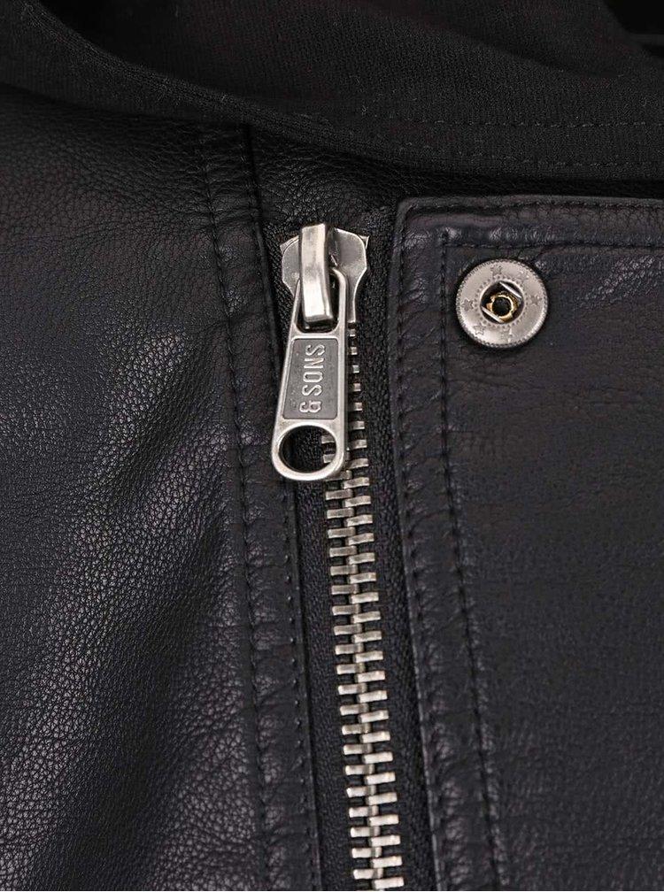 Černá koženková bunda s kapucí ONLY & SONS Or